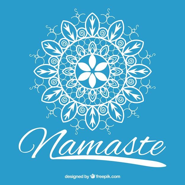 Disegnati a mano mandala blu namaste background Vettore gratuito