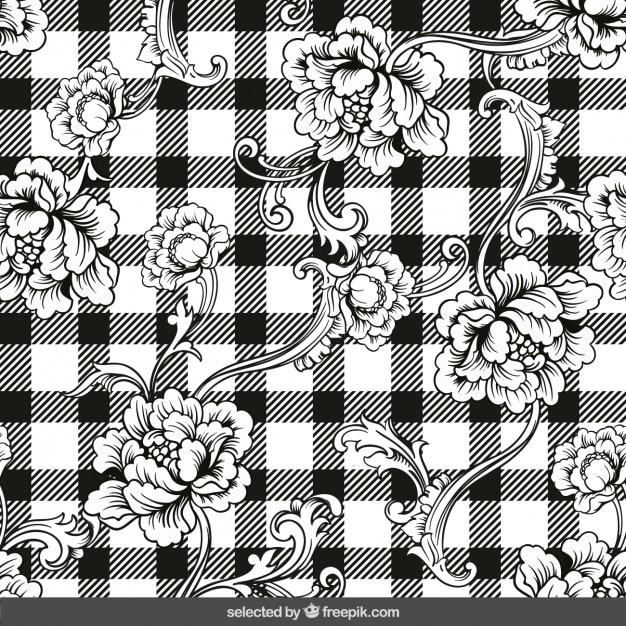Disegnati a mano ornamenti floreali su sfondo percalle Vettore gratuito