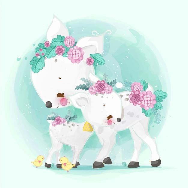 Disegnati a mano sfilano i simpatici animali. illustrazione vettoriale Vettore Premium