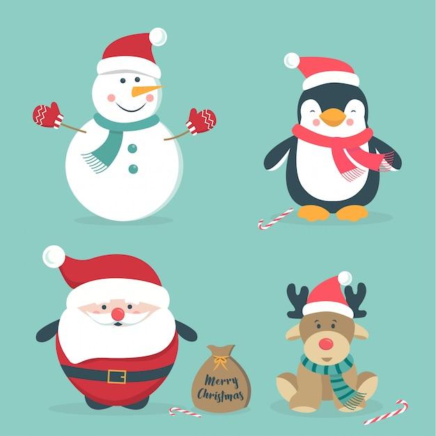 Disegnati a mano simpatici personaggi natalizi Vettore Premium