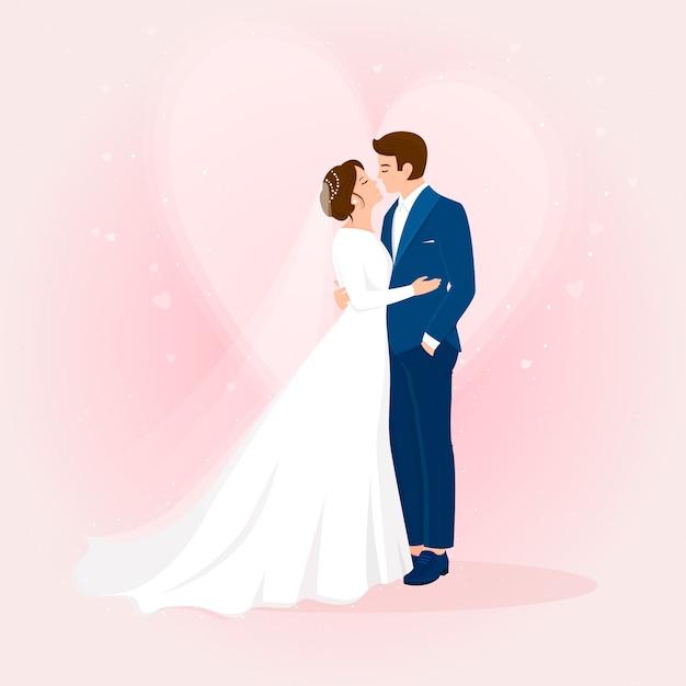 Disegnati a mano sposi con cuore Vettore gratuito