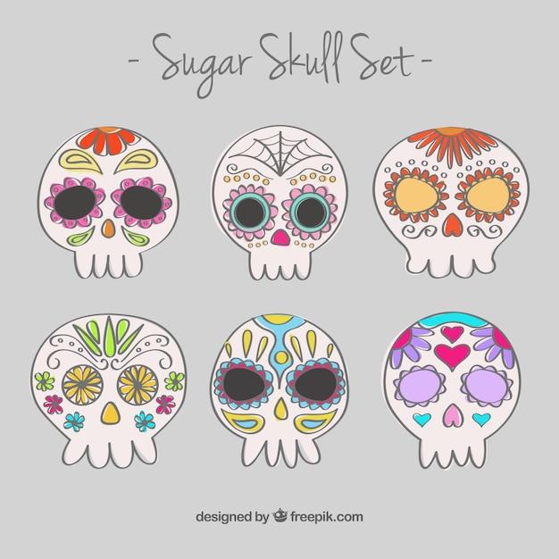 Disegnati a mano teschi di zucchero set scaricare for Immagini teschi disegnati
