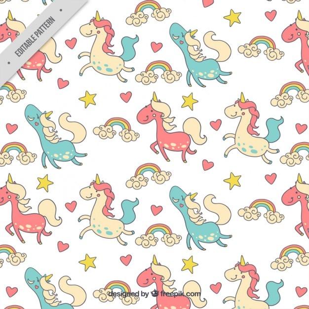 Disegnati A Mano Unicorni Colorati Felici Con Pattern Arcobaleno