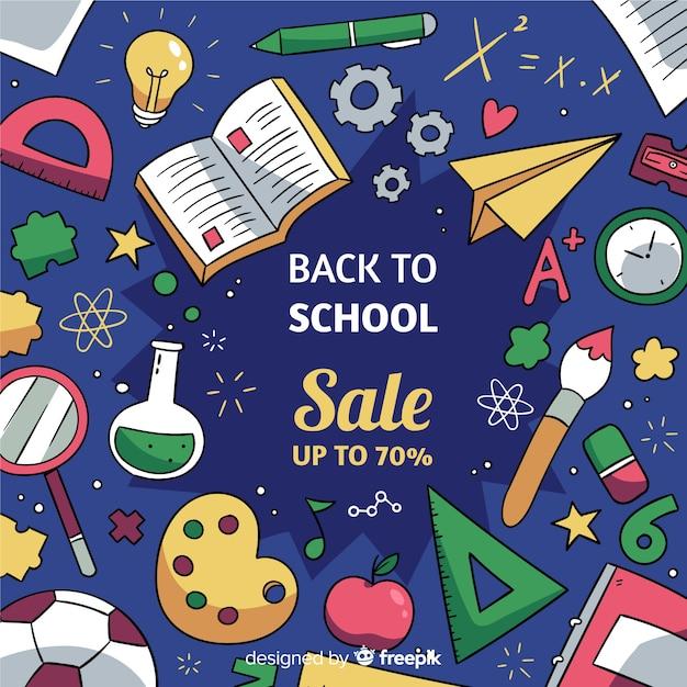 Disegnato a mano alle vendite scolastiche Vettore gratuito