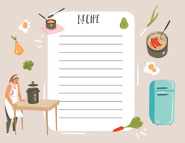 Disegnato a mano astratto moderno fumetto cucina studio illustrazioni ricetta card planner templete con donna, cibo, verdure e calligrafia scritta a mano su sfondo bianco Vettore Premium