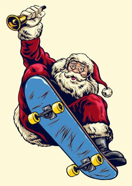 Disegnato a mano babbo natale su skateboard Vettore Premium