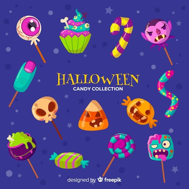 Disegnato a mano bella collezione di caramelle di halloween Vettore gratuito