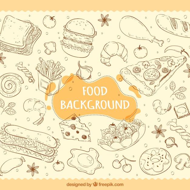 Disegnato a mano cibo gustoso sfondo Vettore gratuito
