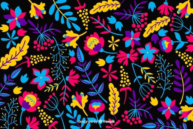 Disegnato a mano colorato sfondo floreale Vettore gratuito
