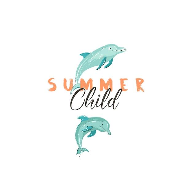 Disegnato a mano creativo segno o logo dell'ora legale del fumetto con i delfini che saltano e tipografia moderna citazione estate bambino isolato su sfondo bianco. Vettore Premium