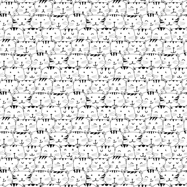 Disegnato a mano cute cat vector pattern. Vettore Premium