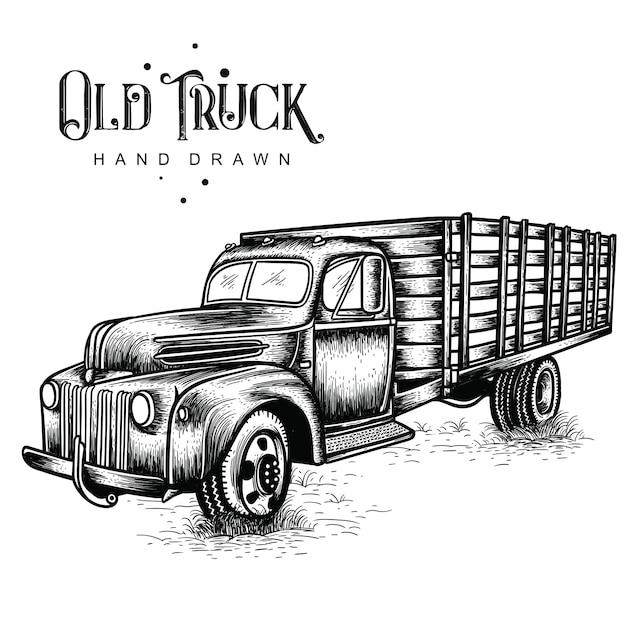 Disegnato a mano del camion dell'azienda agricola Vettore Premium