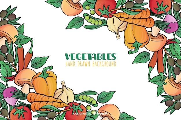 Disegnato a mano delizioso cibo sfondo Vettore gratuito