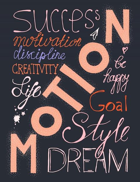 Disegnato a mano dell'annata lettering composizione hipster con parole sulla vita, successo e sogno Vettore Premium