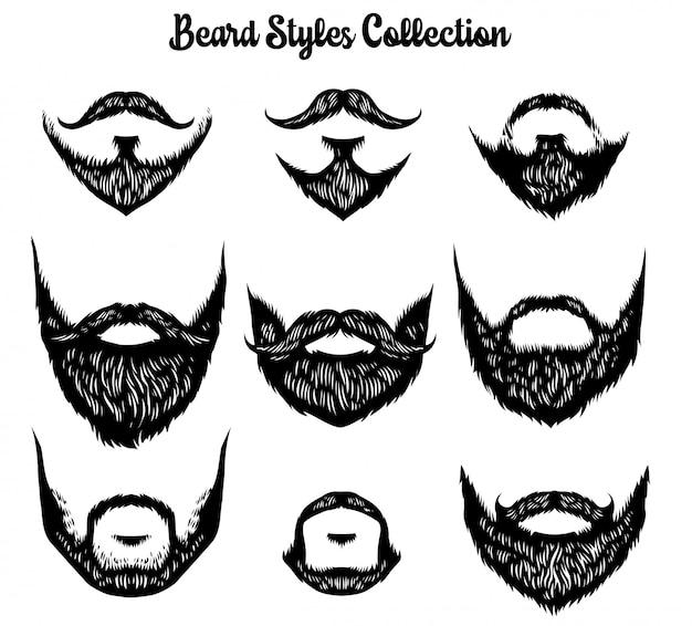 Disegnato a mano della collezione di stili di barba Vettore Premium