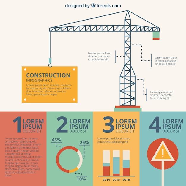 Disegnato a mano della gru di costruzione infografia for Software di costruzione gratuito