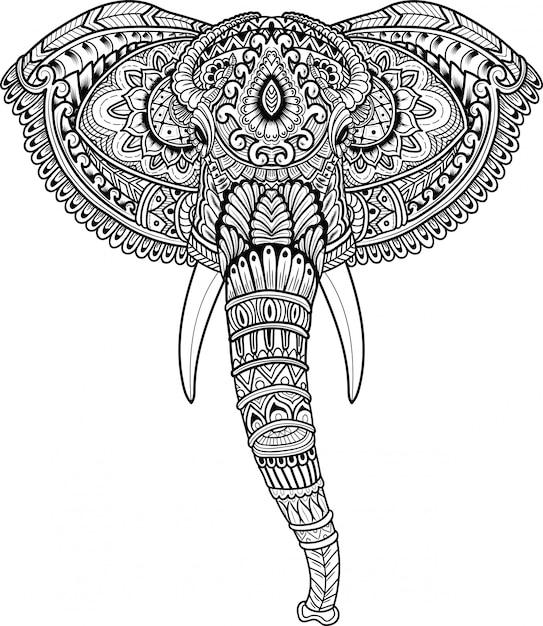 Disegnato a mano della testa di elefante in stile zentangle Vettore Premium