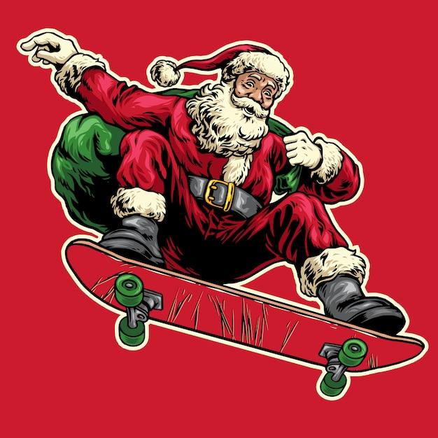 Disegnato a mano di babbo natale che salta su skateboard Vettore Premium
