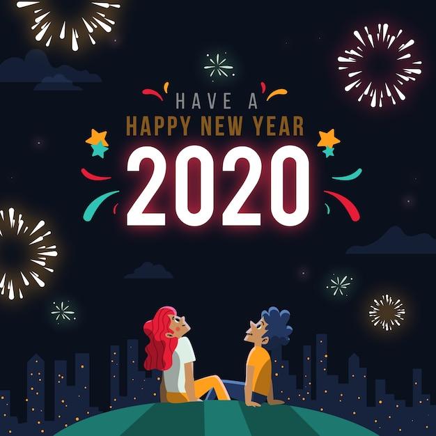 Disegnato a mano di concetto del nuovo anno Vettore gratuito