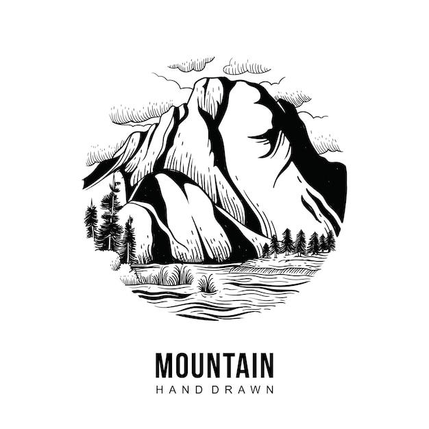 Disegnato a mano di montagna Vettore Premium