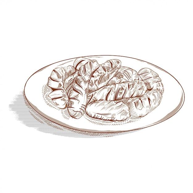 Disegnato a mano di salsicce sul piatto bianco Vettore Premium