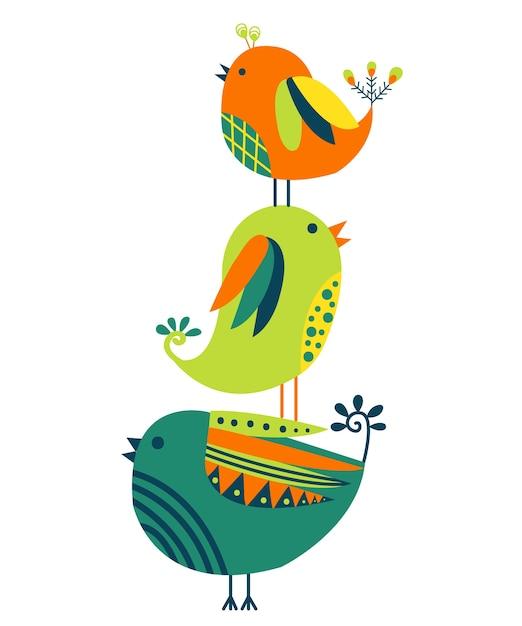 Disegnato a mano di uccelli colorati isolato su sfondo bianco. Vettore Premium