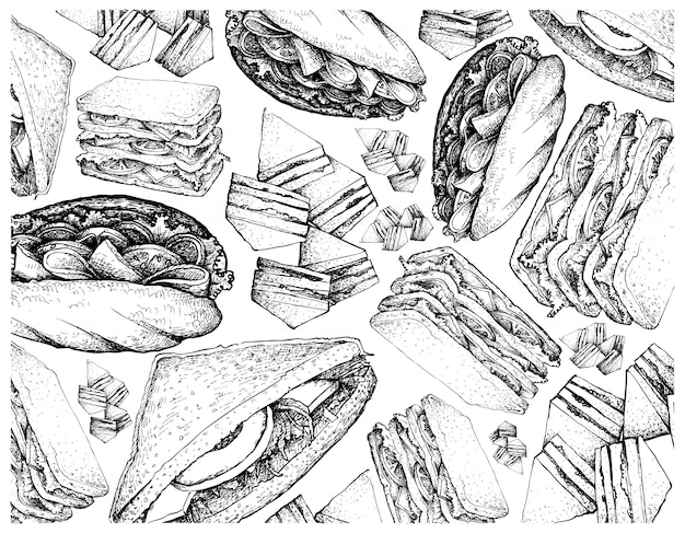 Disegnato a mano di vari panini su priorità bassa bianca Vettore Premium