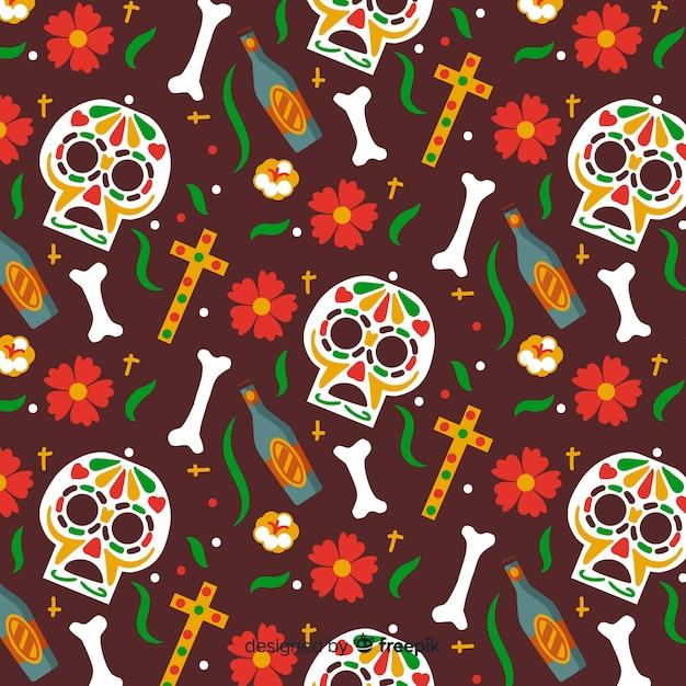 Disegnato a mano día de muertos pattern sfondo marrone Vettore gratuito