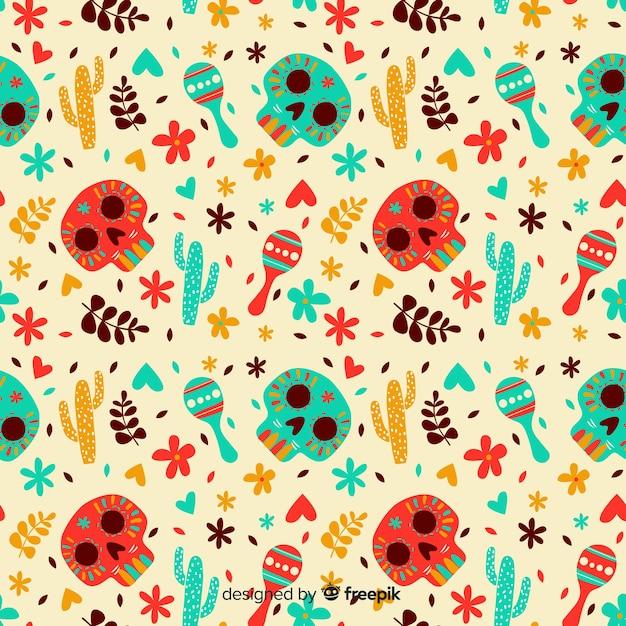 Disegnato a mano dia de muertos pattern Vettore gratuito