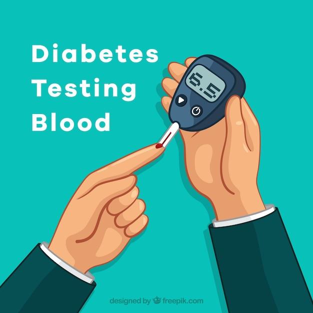 Disegnato a mano diabete test della composizione del sangue Vettore gratuito