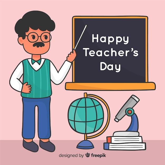 Disegnato a mano evento giornata degli insegnanti del mondo Vettore gratuito