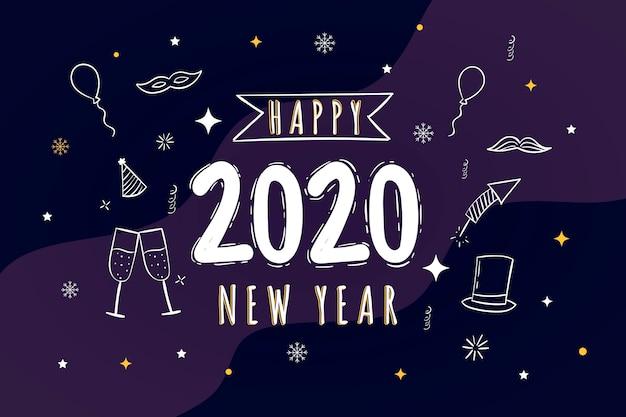 Disegnato a mano felice nuovo anno 2020 Vettore gratuito