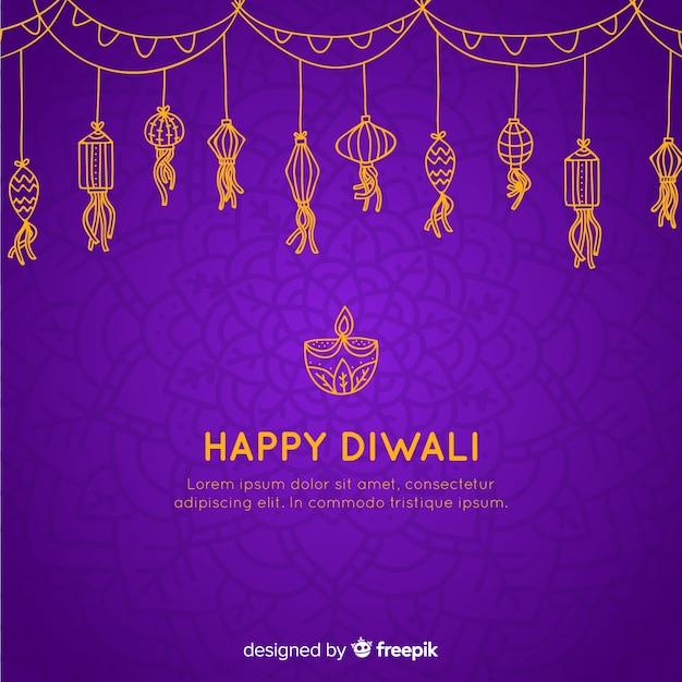 Disegnato a mano incantevole sfondo di diwali Vettore gratuito