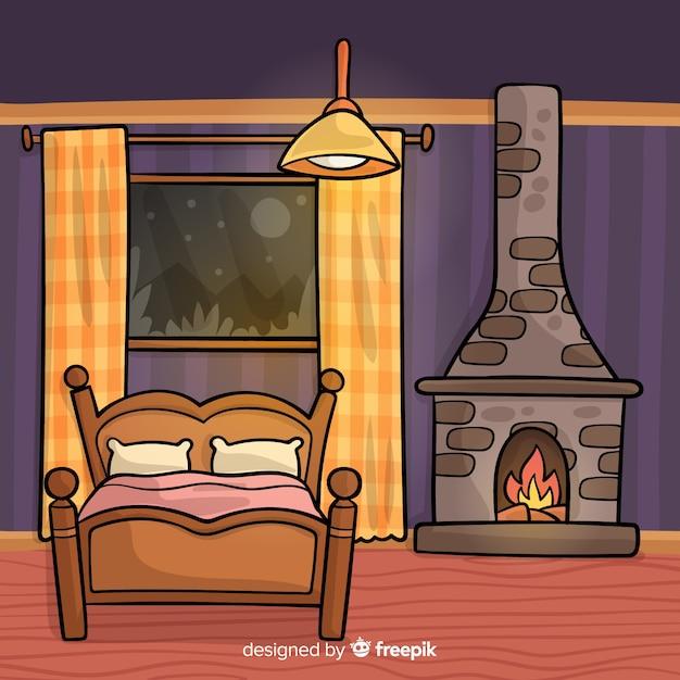 Disegnato a mano interior design camera da letto scaricare vettori gratis - Interior design camera da letto ...
