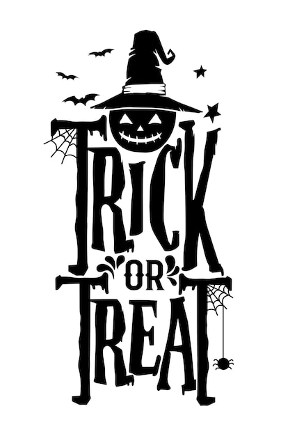 Disegnato a mano lettering modello di saluto di halloween Vettore Premium