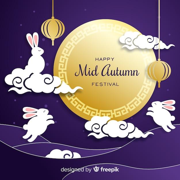 Disegnato a mano metà festival d'autunno in stile carta Vettore gratuito