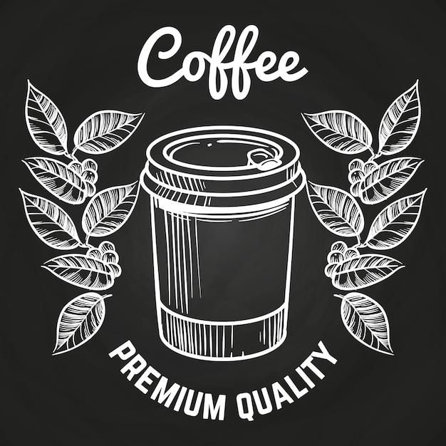 Disegnato a mano portare via tazza di caffè e caffè Vettore Premium