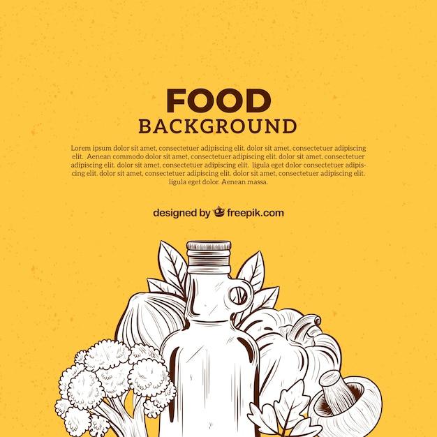 Disegnato a mano sfondo cibo mediterraneo Vettore gratuito