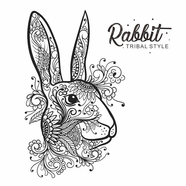 Disegnato a mano stile tribale testa di coniglio Vettore Premium