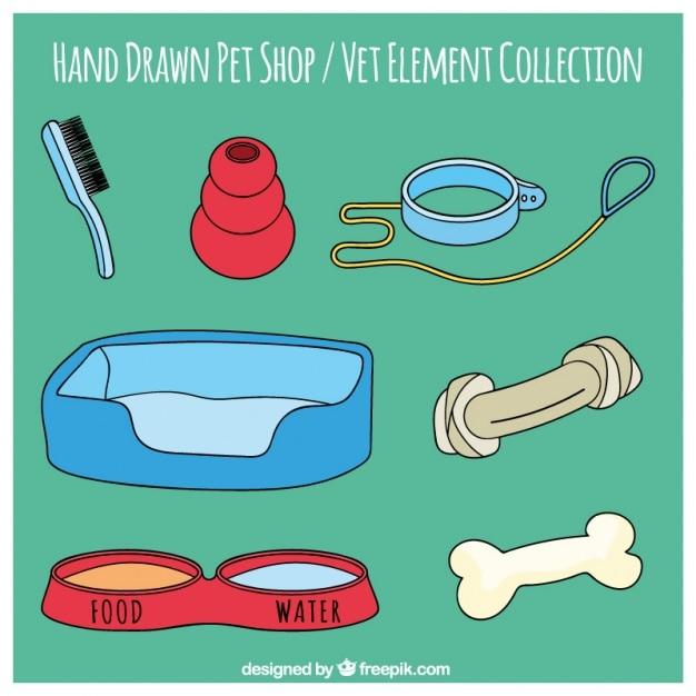 Disegnato a mano strumento insieme di negozio di animali Vettore gratuito