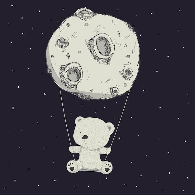 Disegnato a mano sveglio del fumetto dellorso e della luna del