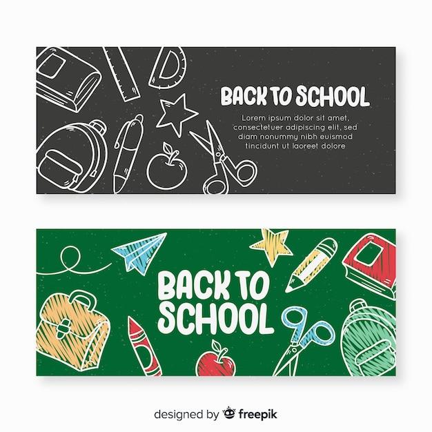 Disegnato a mano torna a banner di scuola Vettore gratuito