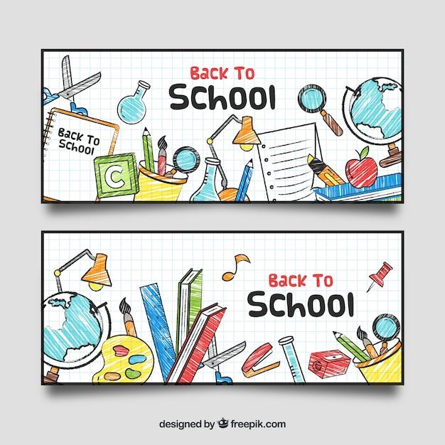 Disegnato a mano torna a banner scuola Vettore gratuito