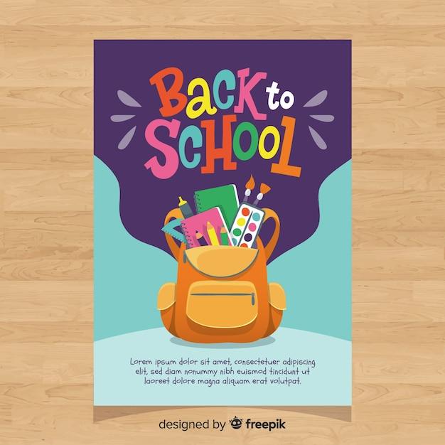 Disegnato a mano torna al modello di carta di scuola Vettore gratuito