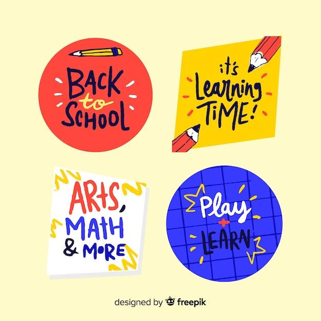 Disegnato a mano torna alla collezione di badge scuola Vettore gratuito