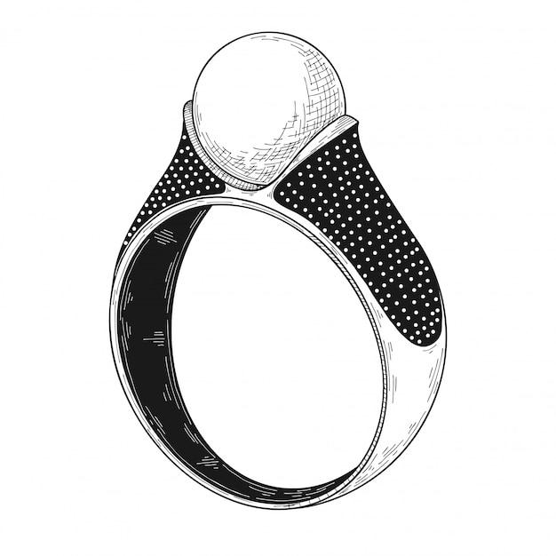 Disegnato a mano un anello dei gioielli isolato su bianco Vettore Premium
