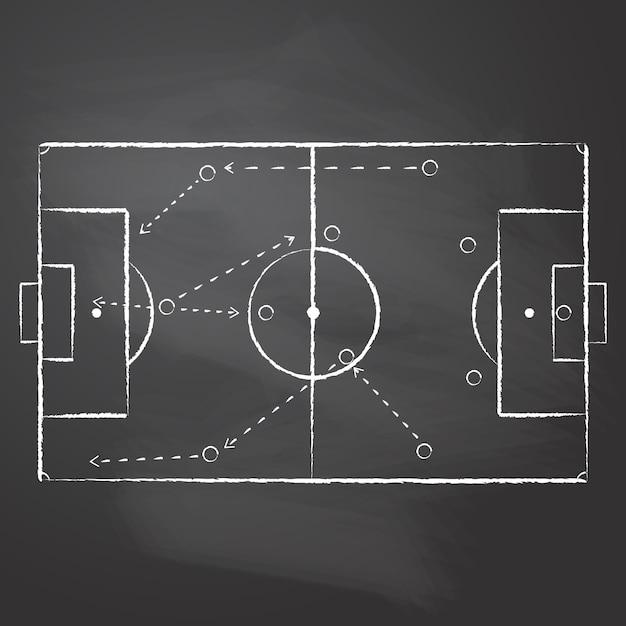 Disegnato con il gesso il markup del campo da calcio e lo schema tattico con giocatori di una squadra e frecce di strategia sulla lavagna nera. uno schema tattico di una partita di calcio Vettore Premium