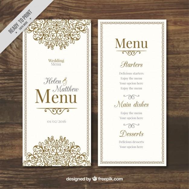 Disegnato menu di nozze ornamentale a mano Vettore gratuito