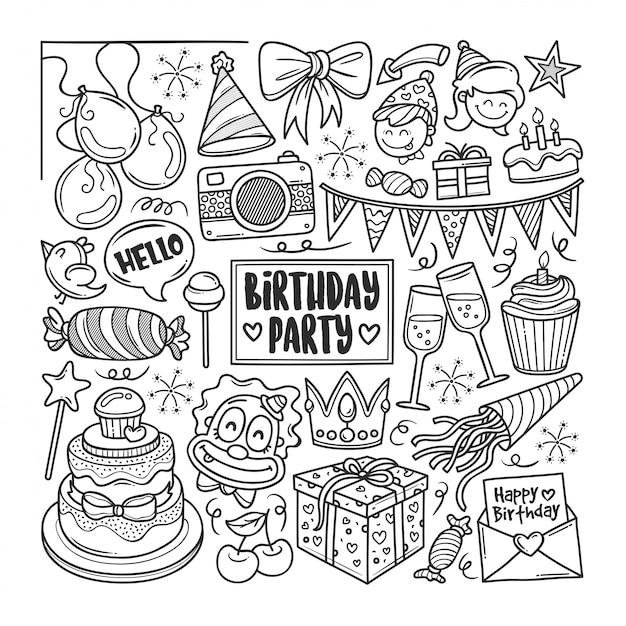 Disegni Da Colorare Doodle Disegnato A Mano Festa Di Compleanno