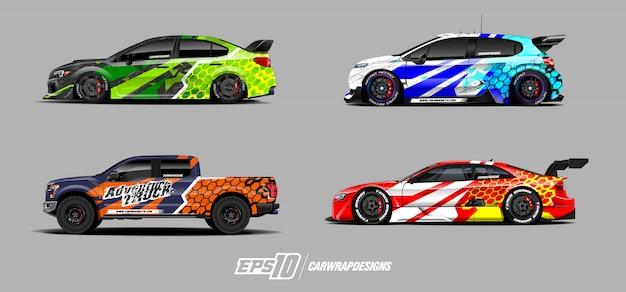 Disegni di adesivi per auto da corsa Vettore Premium
